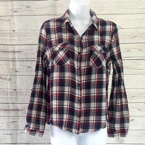 Charlotte Russe black red plaid button down top/L